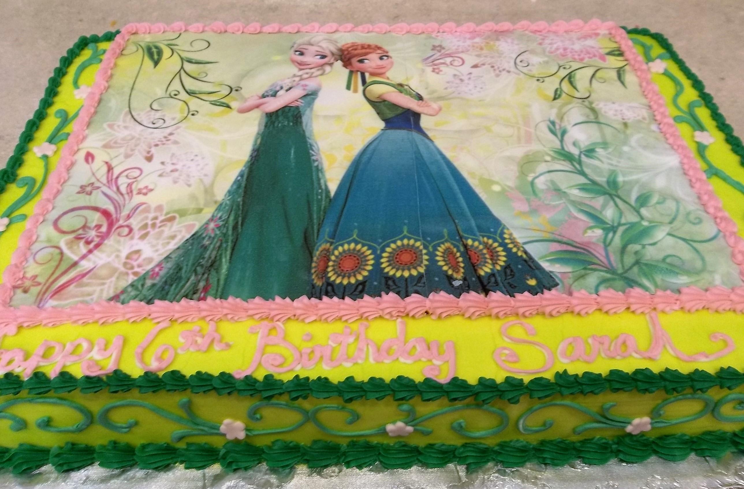 Elsa & Anna edible image