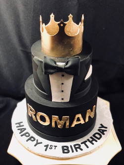 Black white and Gold Prince cake