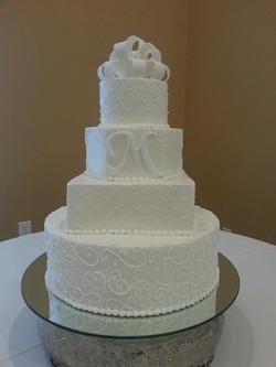 Multi shaped wed cake with monogram