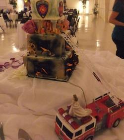 Firefighter side of Wedding cake