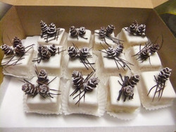 cake Squares Pinecones and Straw