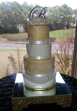 Golden Damask wed cake