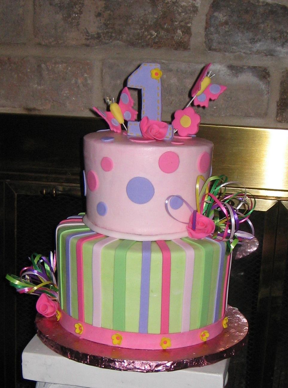 Girly 1st birthday 2 tier