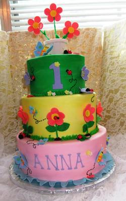 Flowery 1st birthday 3 tier
