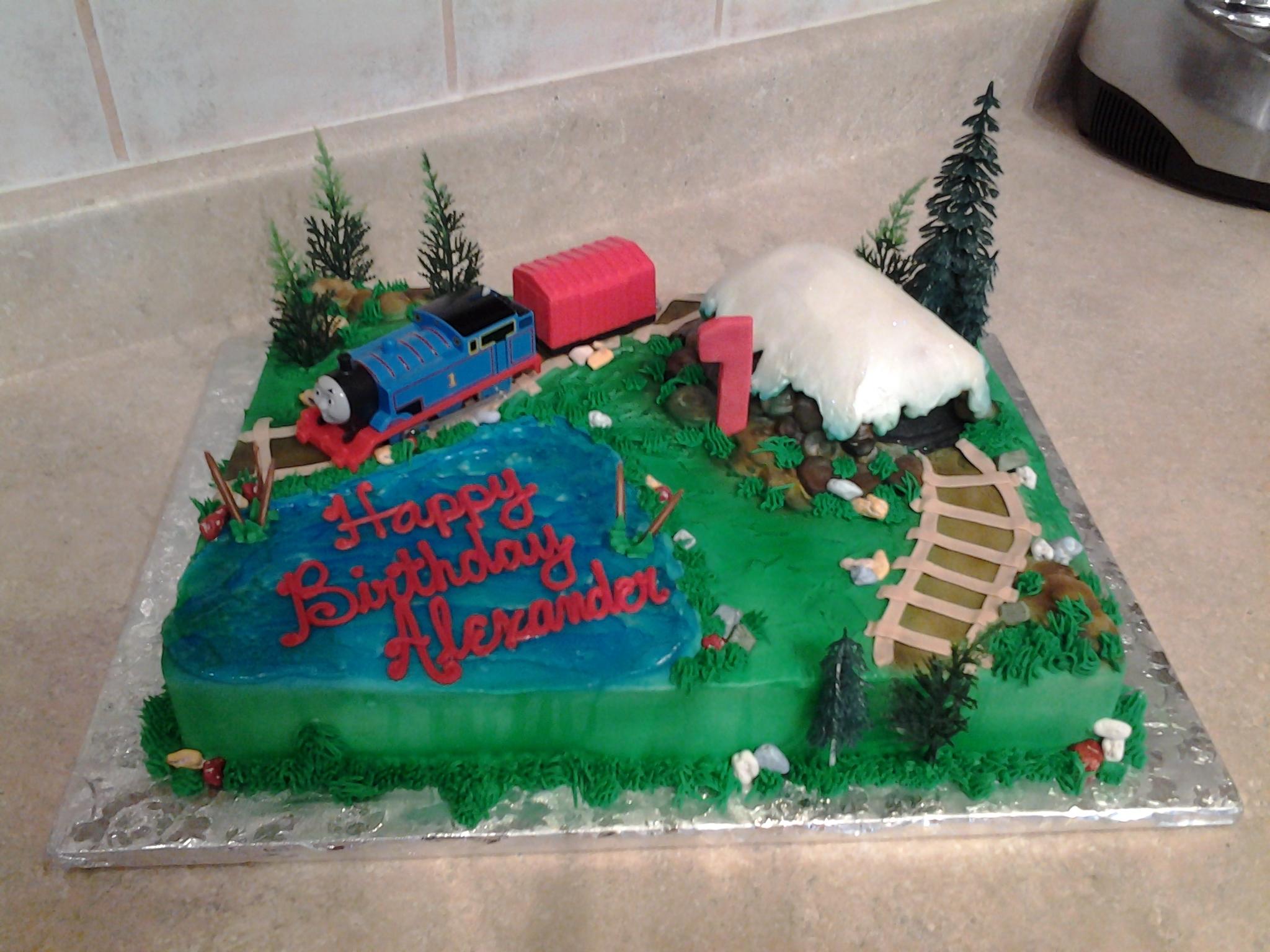Train theme sheet cake