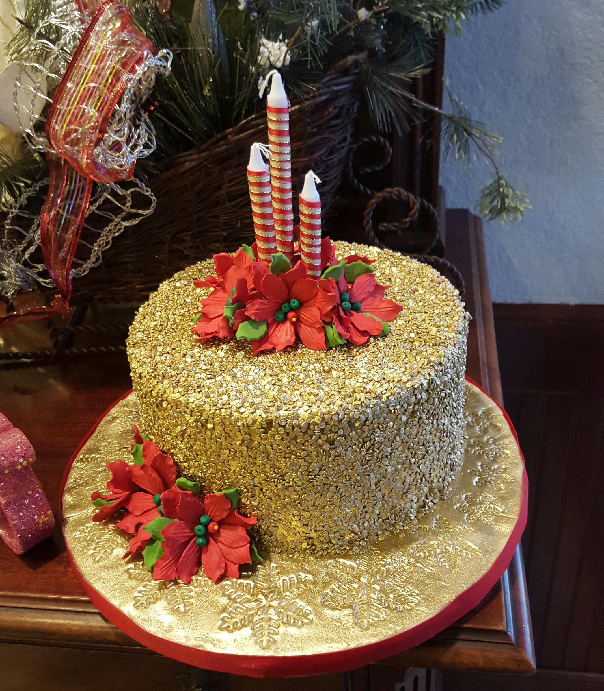 Christmas- Gold glitter texture cake