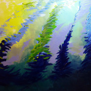 """""""Ebb and Flow"""" Oil on canvas before a shoal of small fish appreared. See finished painting in the gallery Tenby"""