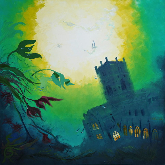 St David's Cathedral underwater 5' x 5' oil on canvas