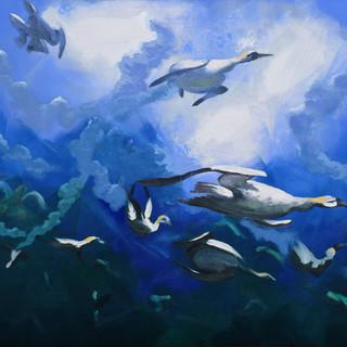 """Gannetack"" Diving Gannet frenzy, Pembrokeshire"
