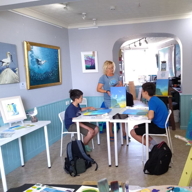Hughes family painting harbour scines on canvas