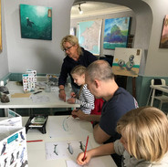 Family painting science in the Art-Science Lab