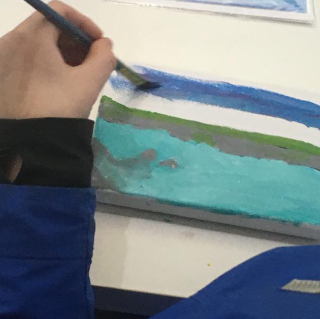 Gannet in seascape.