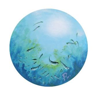 Porthole into the blue - small fish