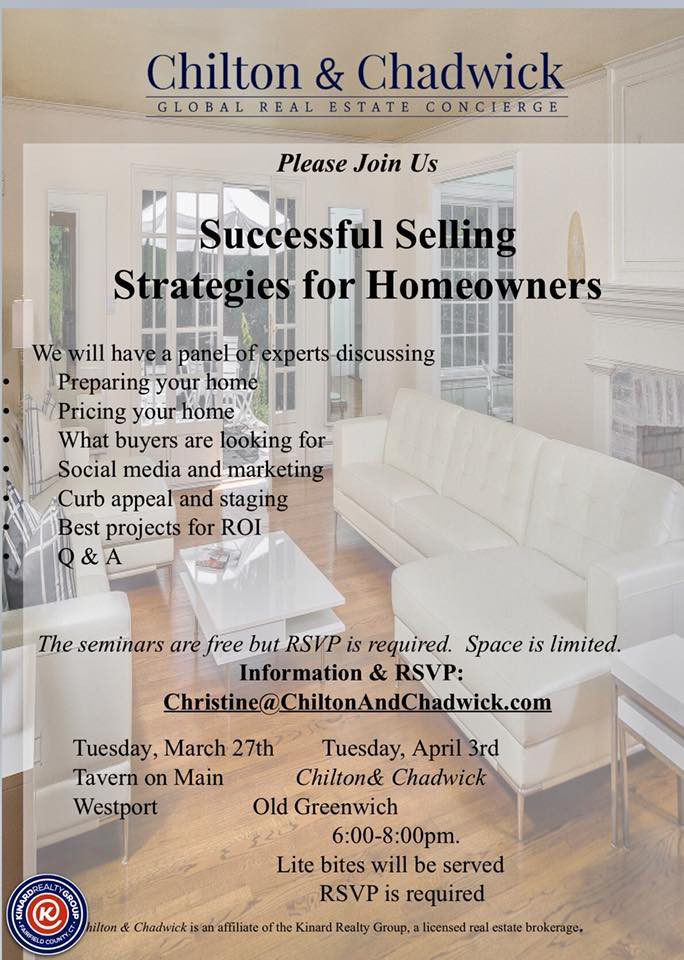 Selling your home join Chilton & Chadwick  April 3rd in Old Greenwich