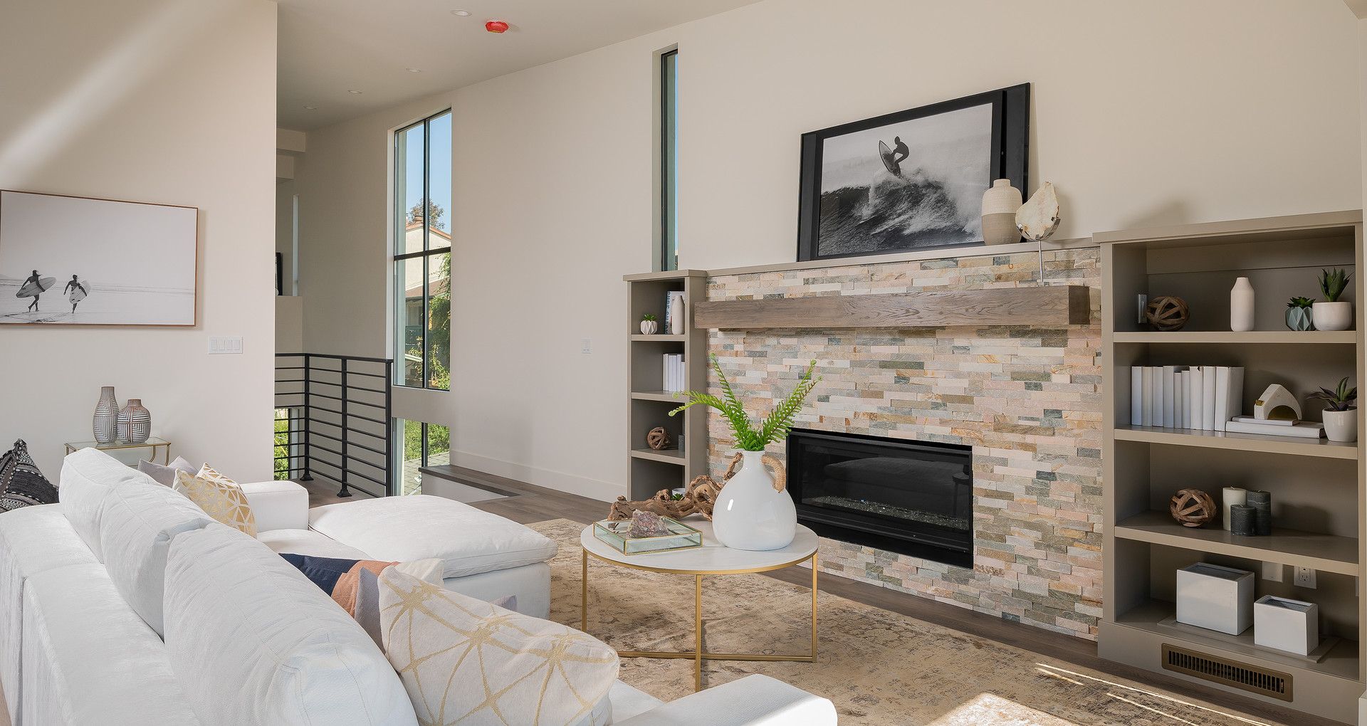 living room staged in hermosa beach