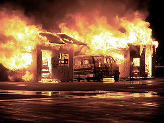 in Brand geraten