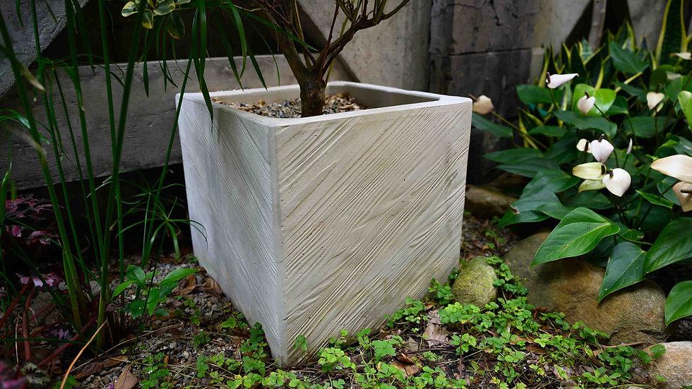 方形花盆-斜木紋