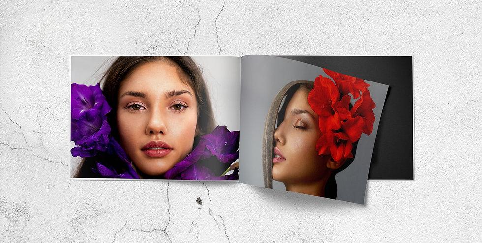 Model mit Blumen