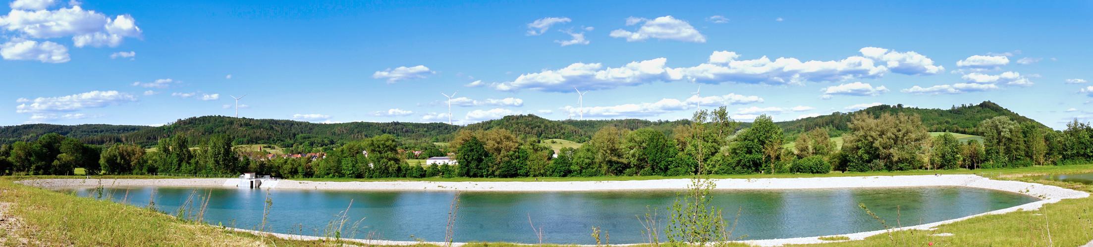Panoramaaufnahme Wasserrückhaltebecken