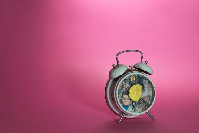 Homemade Thunderbirds collage on alarm clock. (2020)