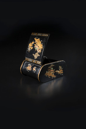 Metal box, or ashtray with inlaid design. Made in England.