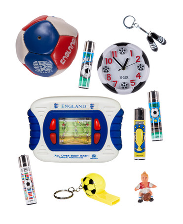 Footy collection: small leather ball, clock, lighters, keyrings and toy player (2020).
