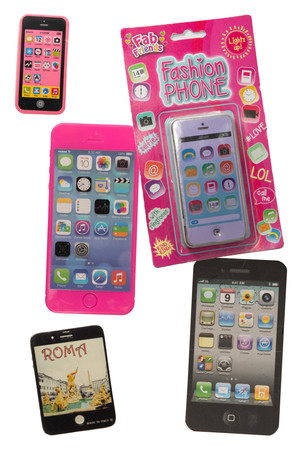 Fake iPhone collection: plastic light up fashion phone in packaging, ceramic 'Rome' fridge magnet, notepad, sweet holder and hot pink eraser. Batteries all printed at 100% (2020).