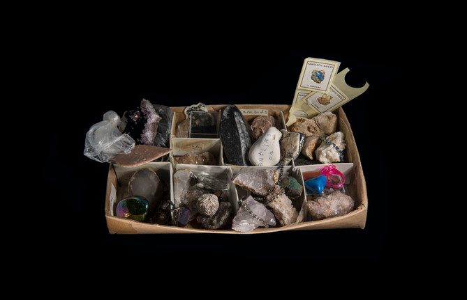Collection of gems, rocks and minerals from project Dwell House (2019).