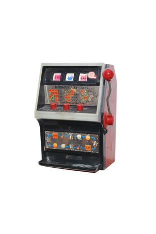 "Electro-automatic toy slot machine with tokens and ""jackpot"" bank, America (2018)."