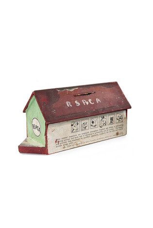 R.S.P.C.A. collection box, shaped as a wooden ark with printed images of animals at windows, c. 1950's.