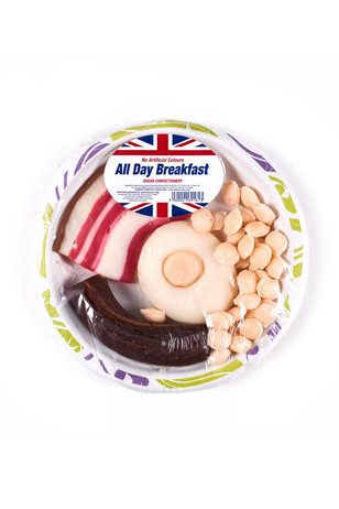 All day breakfast, boiled sugar confectionary.
