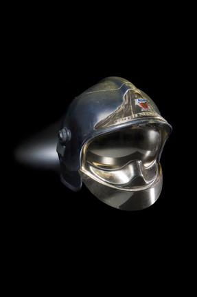 French fireman's helmet 'Sapeurs pompier de Paris', transformed into a champagne ice bucket, 1980's,I-J-Hallen, Amsterdam (2019).