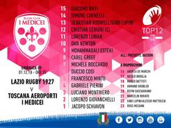 Top12: la formazione dei Gigliati che affronta la Lazio