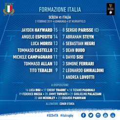 Italia, il XV per la Scozia: Parisse record, Ghiraldini fa 100 e Sisi dall'inizio