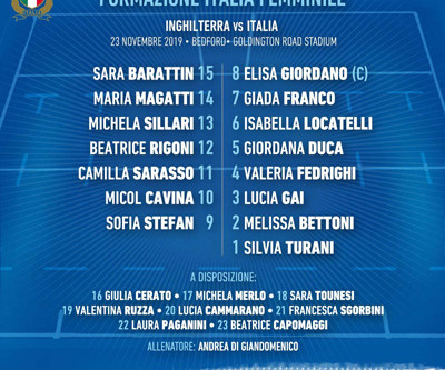 Italia Femminile: la formazione titolare sabato contro l'Inghilterra