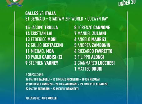 Italia U20, il XV per l'esordio contro il Galles al Sei Nazioni di categoria
