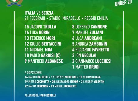 Italia U20, Roselli annuncia il XV per la Scozia