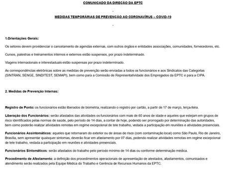 Comunicado da Direção da EPTC - CORONAVÍRUS