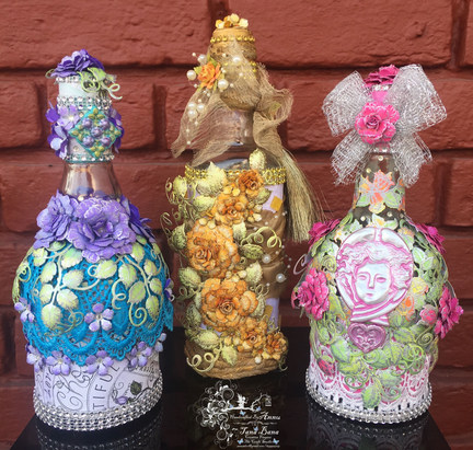 Altered Bottles With Heartfelt Creations Classic and Blushing Rose Collection