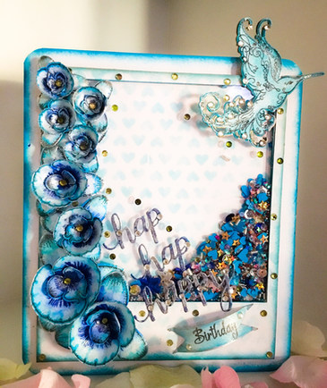 Celebrate! Blue Orchid Shaker Card With Heartfelt Creations Botanical Orchid