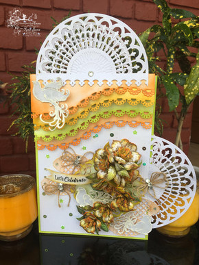 Lets Celebrate Card With Heartfelt Creations Sunrise Lily And Doves And Branches
