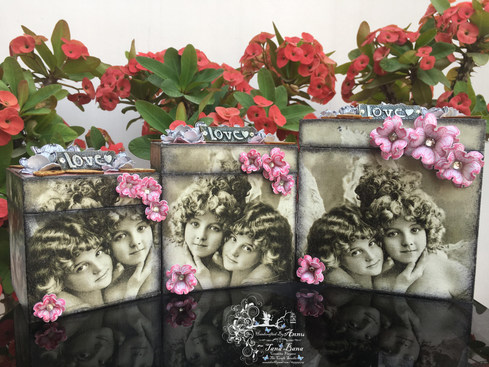 Decoupaged Set Of Boxes Embellished With Flowering Dogwood