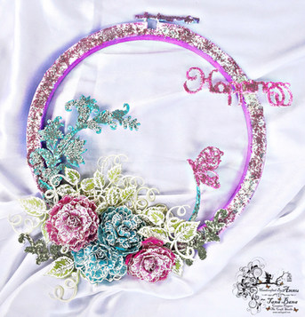 A World Of Happiness (Mix Media Altered Hoop Project)