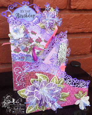 Fold out card with heartfelt creations classic petunia collection