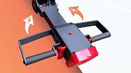 SS 底腳提升型推高機,可選擇予設的手動式轉向, 或提升至電動式轉向
