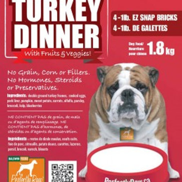 Perfectly Raw Turkey Dinner Mix - 32lbs Frozen 16x2lb Wholesale