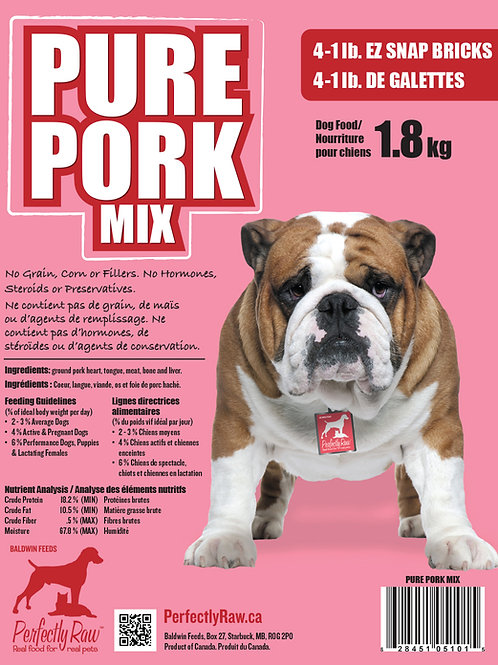 Perfectly Raw Pure Pork Mix - 32lbs Frozen 16x2lb Wholesale