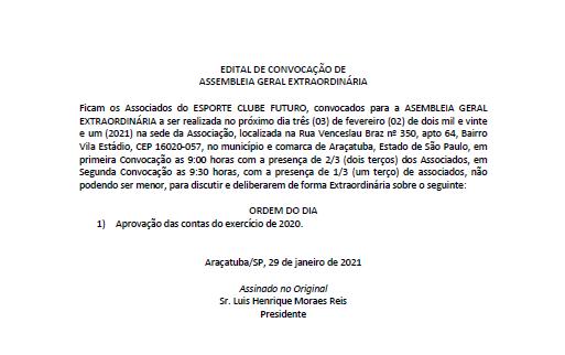 EDITAL DE CONVOCAÇÃO - PRESTAÇÃO DE CONT