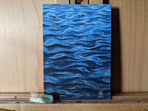Waves Acrylic Painting - 5x7""