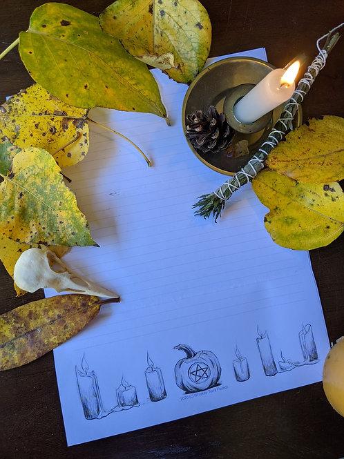Printable Stationery - Samhain Candles
